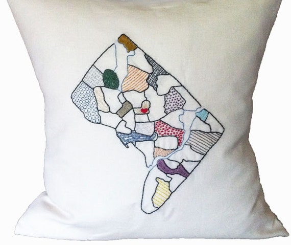 Embroidered Pillow Cover -Washington DC District Map - Hand-Embroidered on Linen Cushion