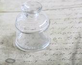 Vintage Inkwell Glass Ink Bottle Round Diamond Co