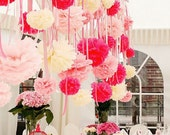 15 mixed sizes Tissue paper Pom Poms set - custom colors - hand made -very fluffy - party  decorations
