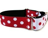 Red and White Polka Dot Martingale Dog Collar