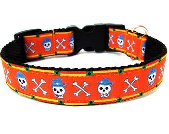 "Skull Dog Collar 1"" Halloween Dog Collar SIZE MEDIUM Ready to Ship Dog Collar"