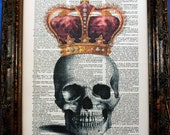 A Page In Time Design Color Crowned Skull Art Print on Dictionary Book Page