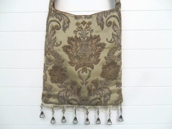Victorian Gypsy Bag Purse Bohemian Tapestry Floral Tote Bohemian Fringe Rose Pink