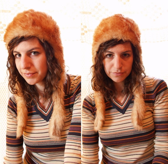 1970s Fur Hat - Fluffiest and Softest Ivory and Orange Tuscan Lamb Bomber Hat with Ear Flaps and Ties