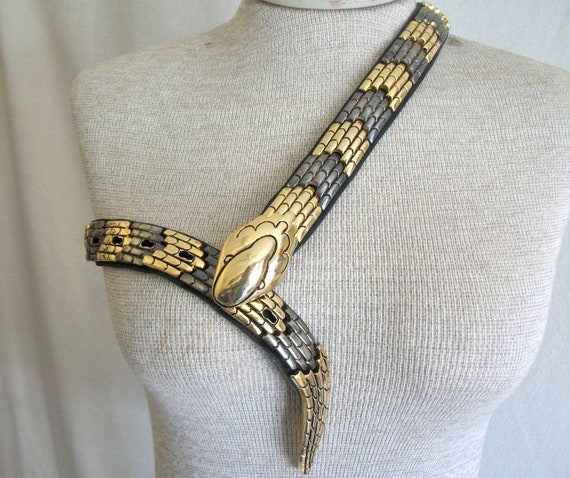 Snake belt, gold and pewter toned by Bijoux Medici, Italy. Women's medium - large, unisex. 1980's glam rock.