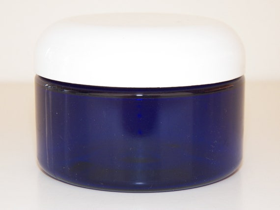 11 Plastic Jars 4oz Blue PET Heavywall w/ White Dome Lid Product Containers Free Shipping