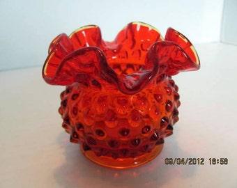 """Fenton Hobnail Vase Orange or Amberina 3"""""""
