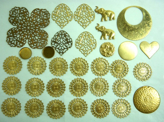 Assorted Stampings, Raw Unfinished Brass, Vintage, Item09462