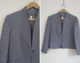 puff slv gray checkers suit blazer SMALL FIT plaid work jacket S