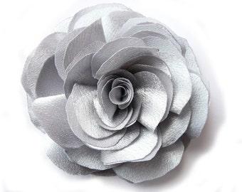 Silver rose - brooch