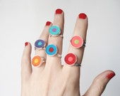 Adjustable colorful felt ring - Silver plated - Choose your favorite combination