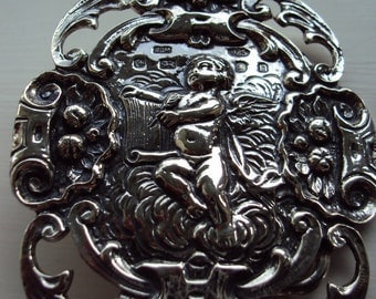 Solid Sterling Silver Womens Belt Buckle and Necklace in a Cherub Design includes Belt
