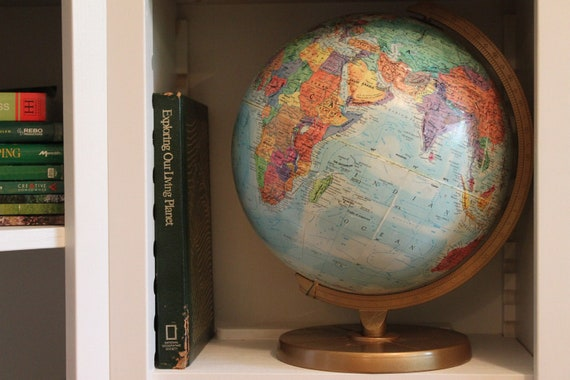 Vintage World Globe Great Lovely Patina decor piece-wedding theme-party theme-library-Little Explorer Bedroom