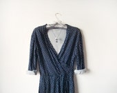 90s Navy Blue Dress - Polka Dot Stars Galaxy Print Grunge Dress White on Blue Nautical Mad Men inspired Cotton Dress