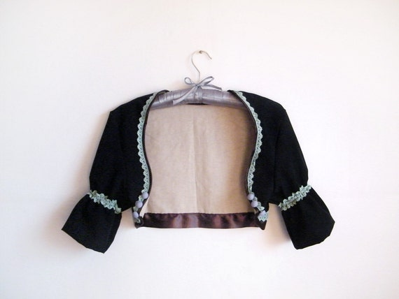 Black Shrug Cropped Jacket  - Country Western Style Bolero with Pastel Lace Lavender Buttons Brown Satin Ribbon Beige Cotton