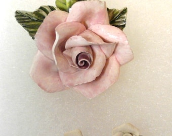 Vintage Ceramic Pink Rose Brooch/Pin with Earrings - Hand Crafted Signed