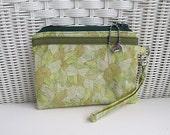 Handmade Green Wristlet Zippered  / Padded Pouch / Womens Wristlet