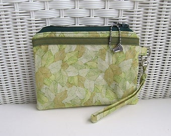 READY-TO-SHIP Handmade Green Wristlet Zippered  / Padded Pouch / Womens Wristlet