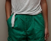 Vintage Women's 90's High Waisted Bright Green Hipster Shorts