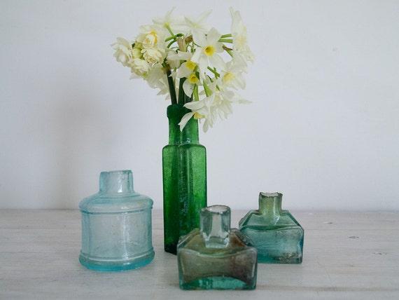 reserved for pauline - quartet of vintage green ink glass bottles