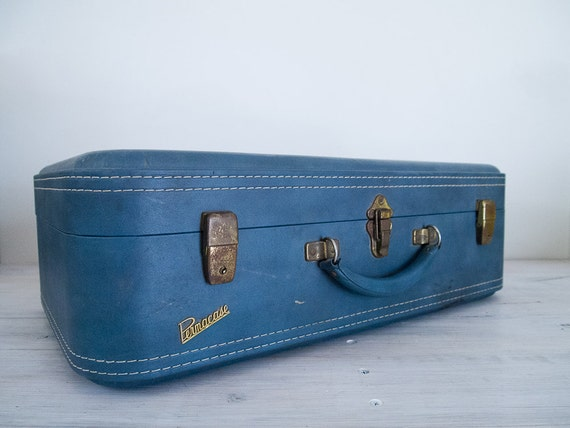reserved for helen - vintage baby blue permacase suitcase