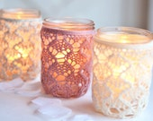 Set of 3 PINT Size, Mason Jar Lanterns, Lace Mason Jars, Wedding Lights, Spring Decor, Mother's Day
