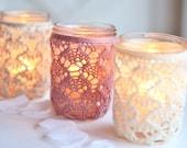 Set of 3 PINT Size, Mason Jar Lanterns, Lace Mason Jars, Wedding Lights, Spring Decor, Mother's Day