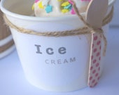 25 small white ice cream cups and LIDS- 8oz clear dome lids- with free diy label file-White