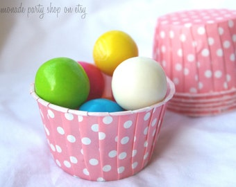 BuBBlegum PiNk PoLkA DoT NuT/CANDy/PoRTiON CuPS-Gumballs, Snacks, Nuts, Cupcakes-Birthday Parties-Showers-25ct