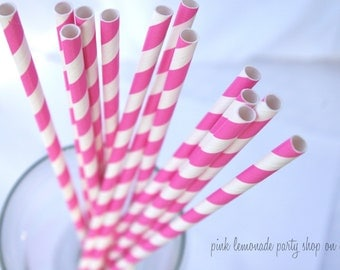 BRiGHT PINK Striped -Paper Straws --25ct with Free Printable diy Flags