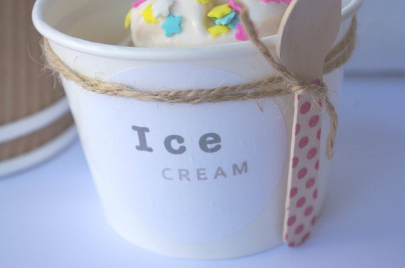 24MeDiuM ICE CREAM or CANDY cups- with Free diy labels-White--Ice cream social--Ice cream sundae -Party Favors----24ct