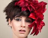 Vintage Style Giant Red Dahlia Fascinator Hat