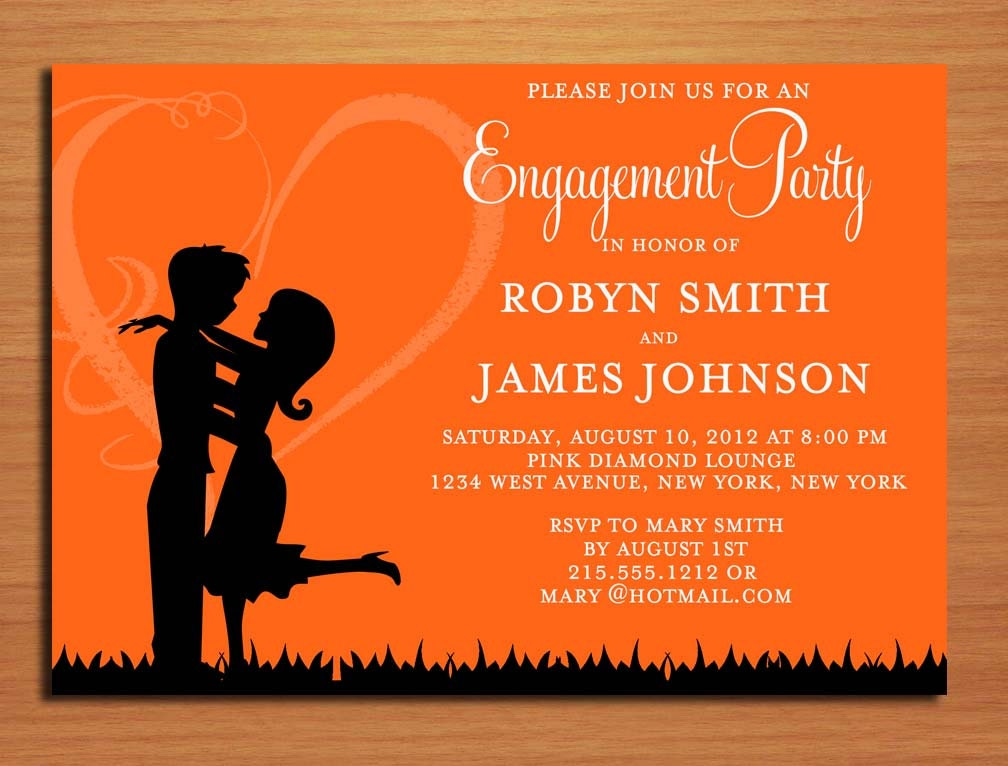 Love Silhouette Orange Engagement Party Customized Printable