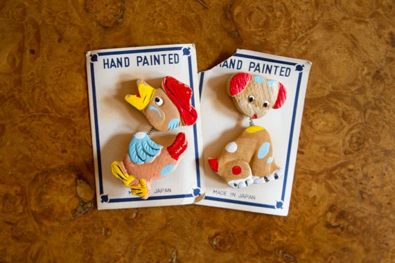 1950's Trembler Brooch // Wood Bobble Head Pin Set Duck and Dog Made in Japan