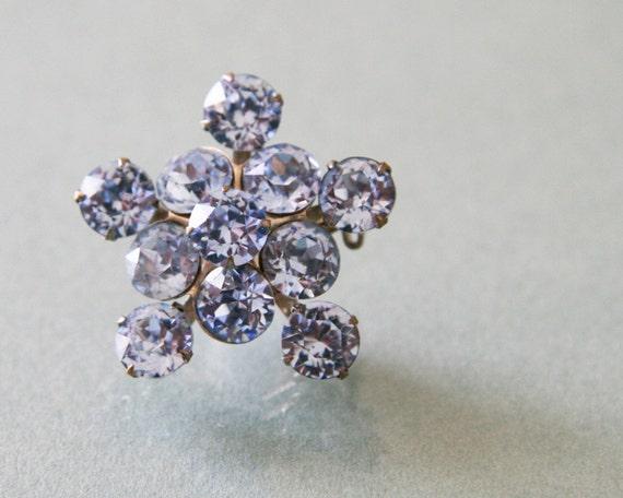 Vintage Ice Blue Rhinestone Flower Cluster Brooch Pin -:- 1950s