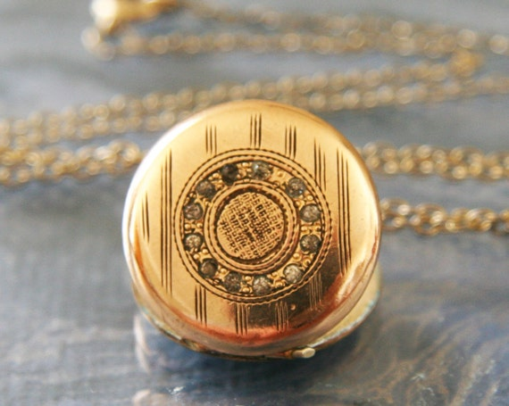 Antique Victorian Gold Locket -:- Pocket Watch Motif c 1880