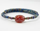 Carnelian Bangle Bracelet Rust Gemstone Tribal Brass Blue Glass Beaded Stackable Stacking Ethnic Jewelry