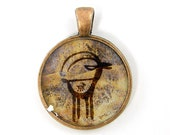 Antelope Pendant - Hieroglyphics Rustic Brown Tan Animal Cave Drawing Charm Copper Resin Jewelry