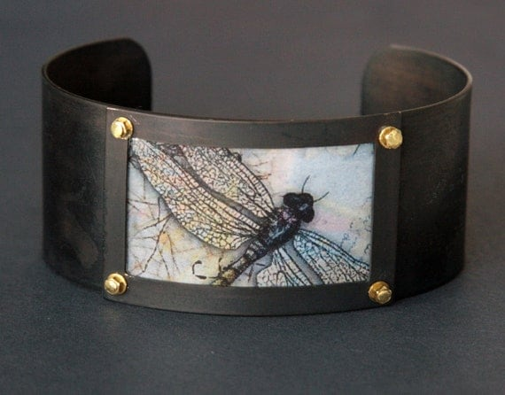 Dragonfly Cuff Bracelet - Lavender Pink Tan Pastel Gossamer Wings Insect Resin Jewelry