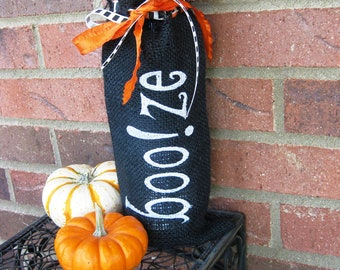 Embroidered  Burlap Wine Bag,  perfect for Holiday Gift giving