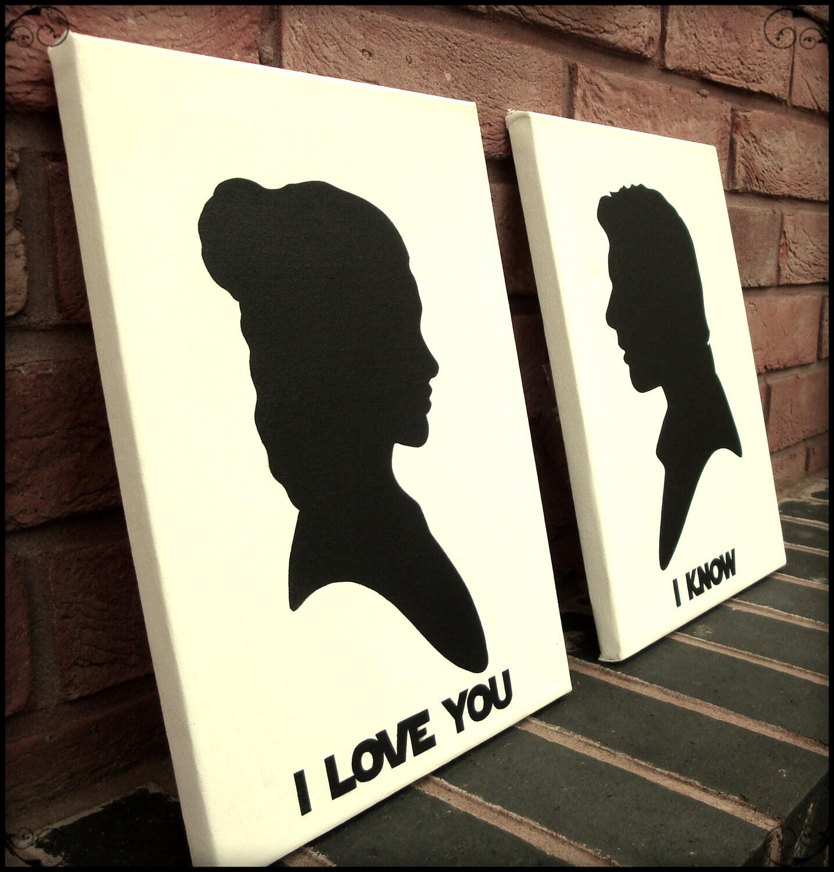 Star Wars Wall Art Stencil On Canvas Princess Leia Loves