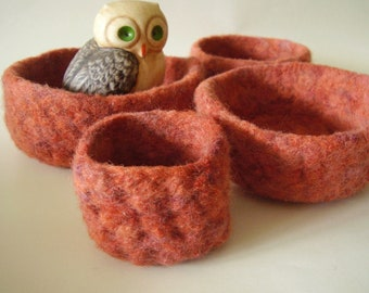 felted wool bowls set of 4 nesting bowls flame