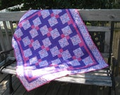 Pink, Purple & White Heart Quilt