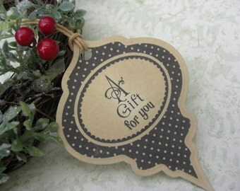 A Gift for You Christmas Bauble Tags Set of 6 Vintage Appearance