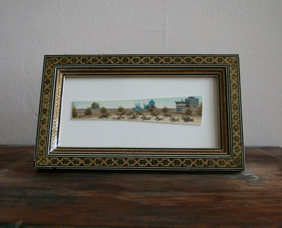 RESERVED Vintage Persian Painting on possibly Bone, plastic or ivory framed with inlay and easel backing