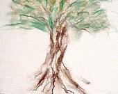 Fine Felt Cobweb Fiber Art, Tree of Life, Wall Art Hanging, Freehand Felting Art