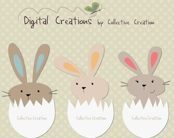 Cute Egg Bunny Rabbits Digital Clipart - Clip Art for Commercial and Personal Use - Scrapbooking, Cards etc