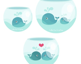 Whales In Fishbowls Digital Clipart Set - Personal and Commercial Use