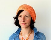Peach orange cotton knit beret- ideal boho slouchy hat for summer, spring, autumn