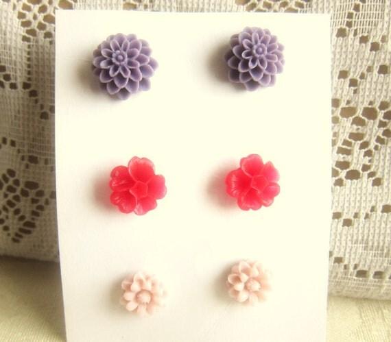 Earring Set Flower Earrings Stud Lot of 3 Set Floral Earrings Floral Stud Post Earrings Set - Purple Red Pink